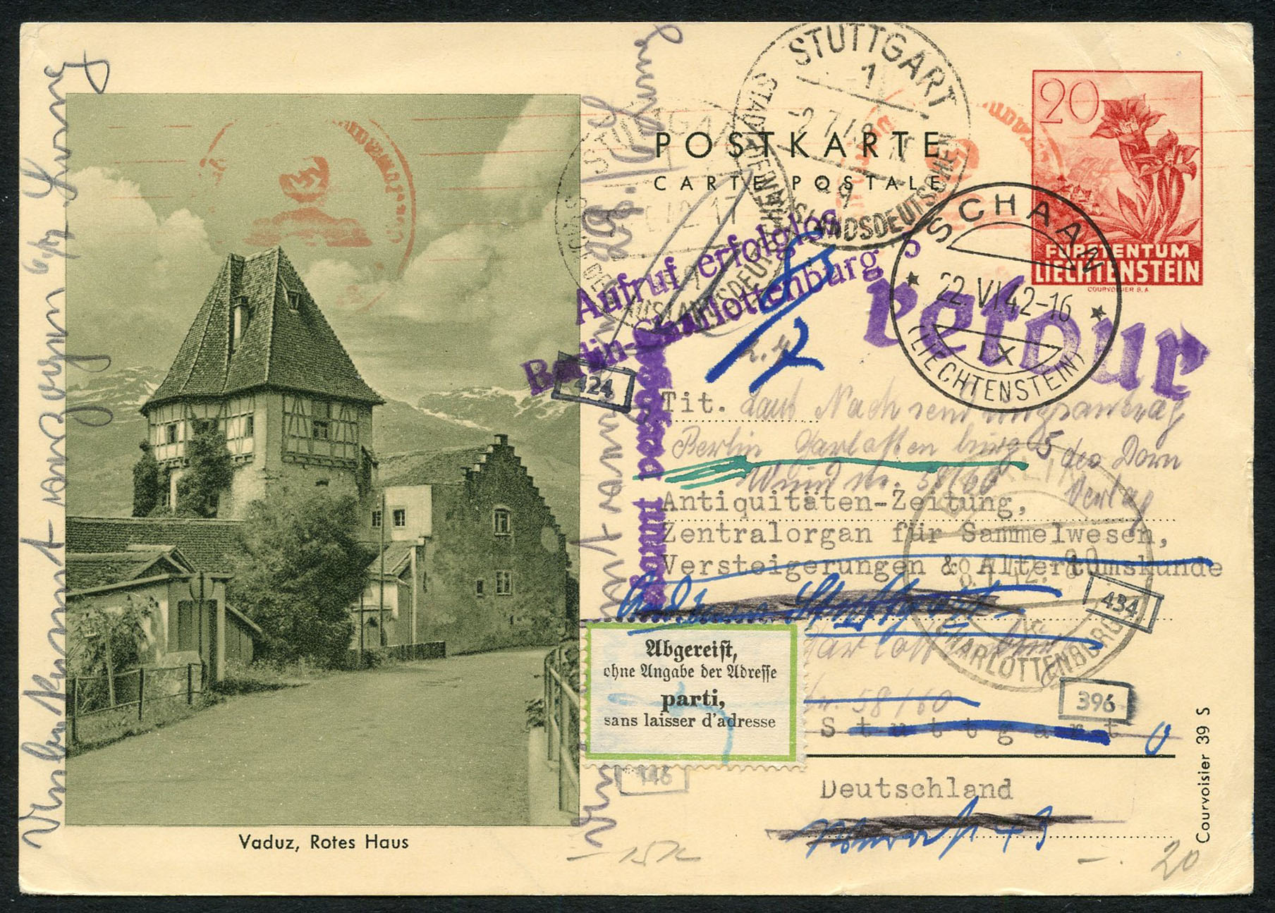 Liechtenstein, lot of stationery, about Swiss Francs 6400.- catalog value. Lot 11, start 500.- / result 1300.-