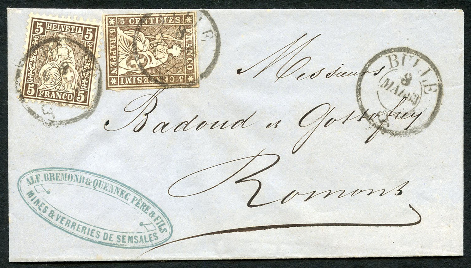 Rare mixed franking same denominations 5 Centimes Strubel and 5 Centimes sitting Helvetia, lot number 394