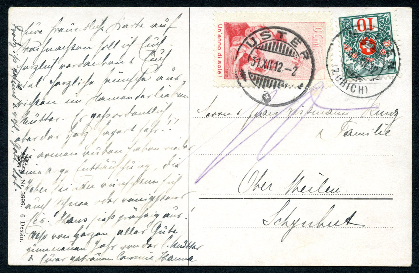 Pro Juventute Forerunner III on picure postcard from Uster, taxed with 10 Centimes due stamp. Lot 140, start 800.- / result  4000.-