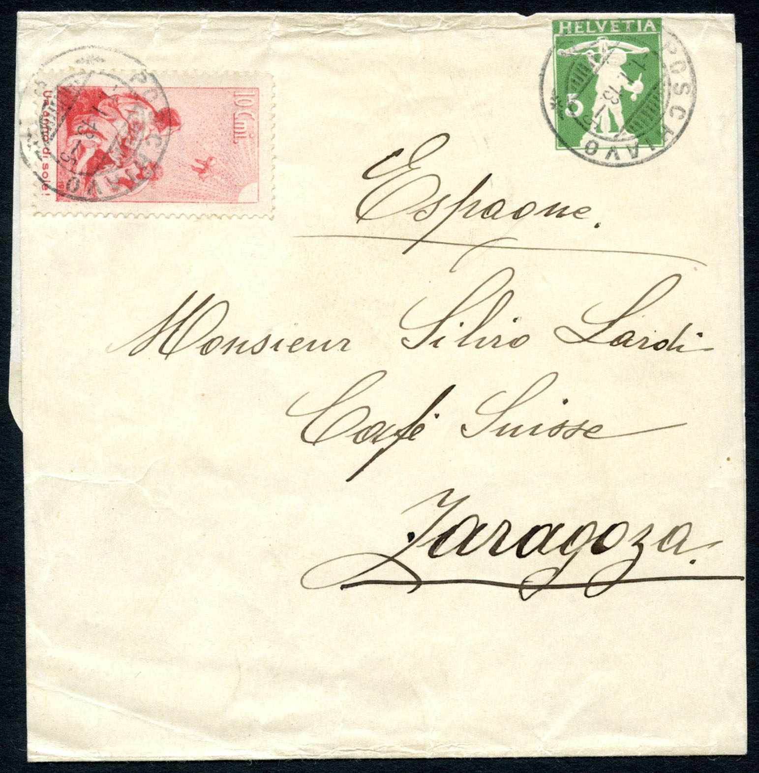 Pro Juventute forerunner III (italian) on rare stationery-wrapper to Zaragoza, Spain. Lot 139, start 1500.- / result 3400.-