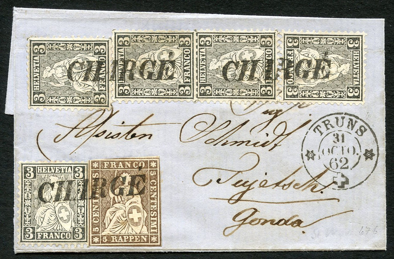 Rare mixed franking 5 Rappen Strubel +3 Rp black, sitting Helvetia 5x, lot number 395