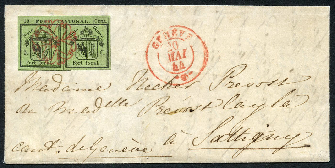 Rare double of Geneva on cover, lot number 303