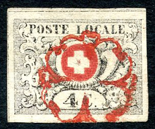 Lot 380, Vaud 4, timbres superbe avec point de fixation (N° 9Ab), adjugé 9000.-