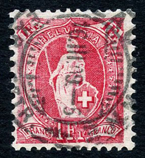 Lot 511, 1 Franc papier mélé, filigrane croix hélvetique, 13 dents verticalement, (N° 99B), adjugé 2400.-