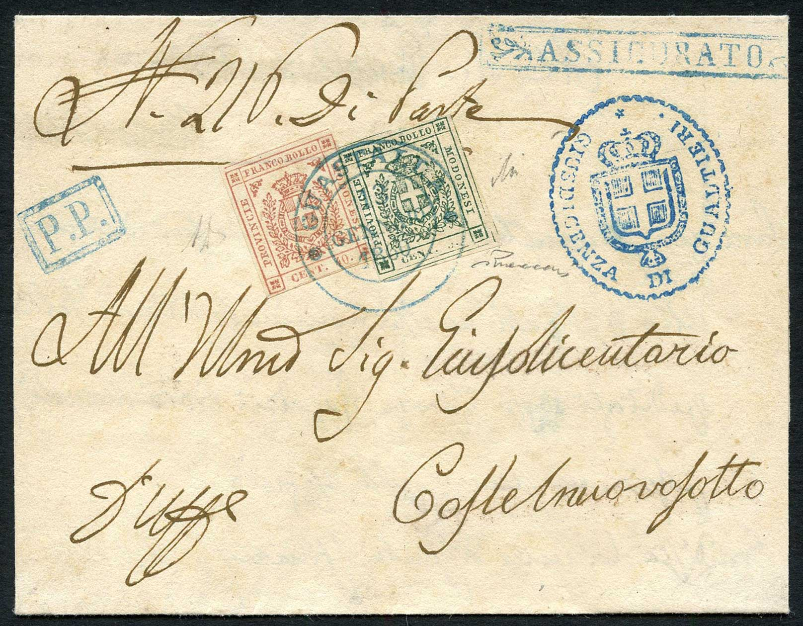 Modena, nice registered cover from 1859 with issue of provisional gouvernement 40 + 5 Centesimi. Lot 667, start 1000.- / result 2200.-